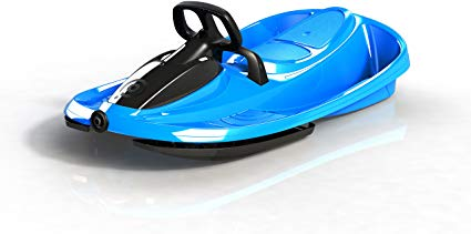 Snow Sled STRATOS with Brakes, Steering,Retractable Pull Cord in ELECTRIC BLUE by Gizmo Riders
