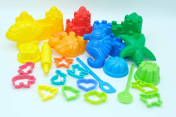 Etgtoys Sandbox Toys for Toddlers Sand Castle Molds - 27 Pcs Building Kit for Kids of Any Age Compatible with Any Molding Sand Set and Type of Clay Playdough Or Play Sand