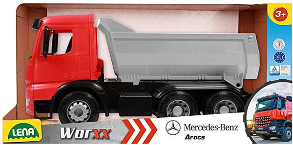 LENA® Mercedes Benz Dump Truck, Red, Silver and Black, 1:15 Scale Model