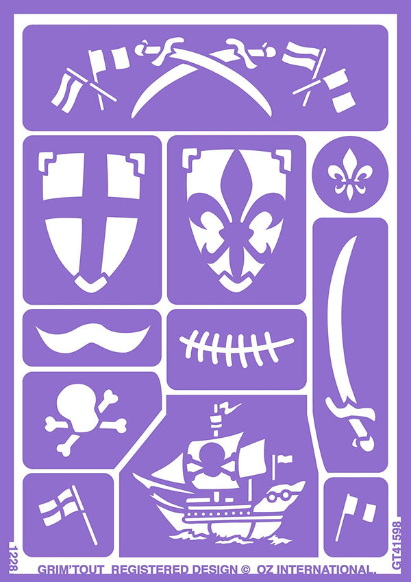 Knight & Pirate Face Painting Stencils by Grim Tout