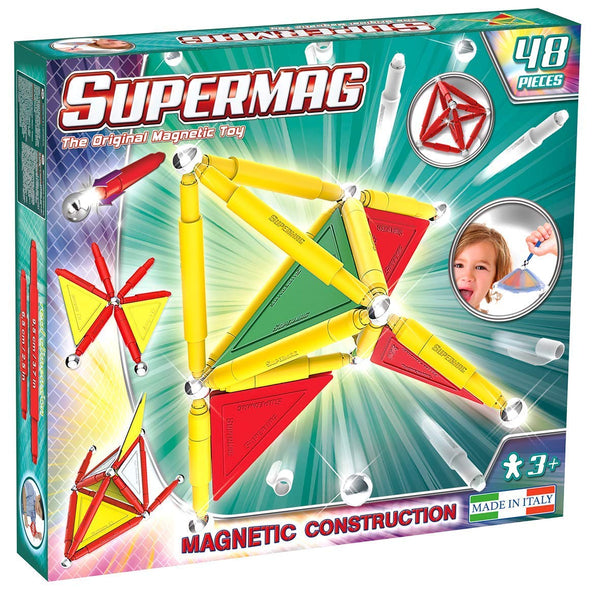 Supermag 3D Magnetic Tiles Advanced Magnetic Building Blocks Rod and Ball Magnetic Sets 48 Piece Set