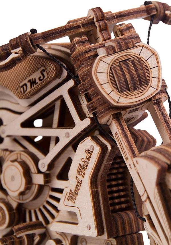 Motorcycle With Rubber Band Motor Mechanical Model 3D Wooden Puzzle By Wood Tricks