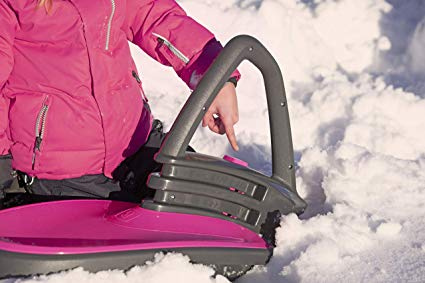 Skidrifter Snow Sled for Kids or Adults with Advanced Manual Stability in MONSTER PINK by Gizmo