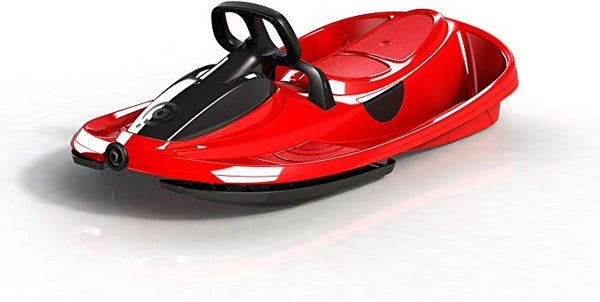 Snow Sled STRATOS with Brakes, Steering, Retractable Pull Cord  in ELECTRIC RED by Gizmo Riders