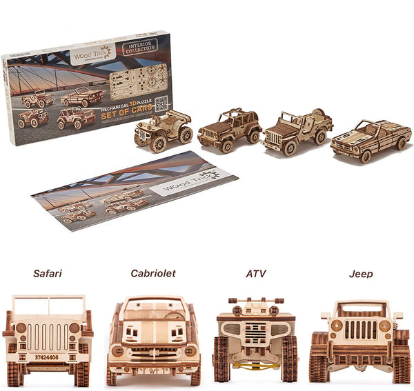 4 Cars Set, Jeep, ATV, Cabriolet, Safari 3D Wooden Puzzle By Wood Tricks