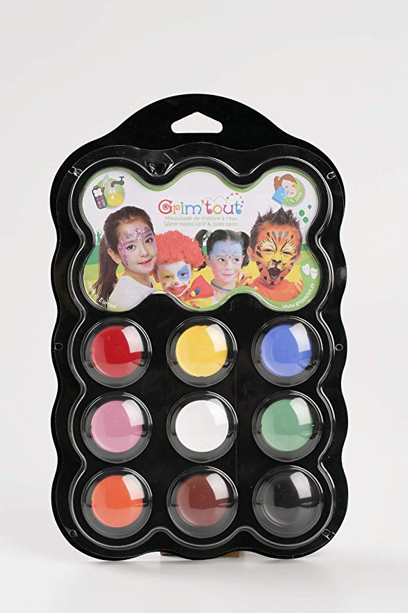 Carnival Face Painting Kit - 9 Colors, 1 Brush,1 Sponge, 1 Guide by Grim Tout