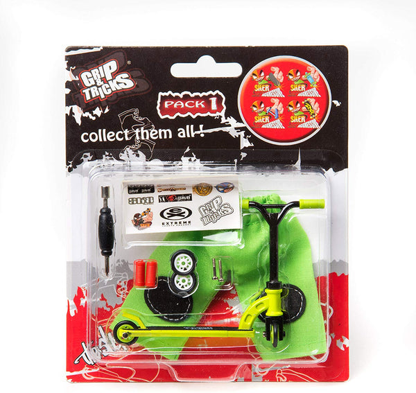 Mini Pro Finger Green Scooter Set with Changeable Tires and Handlebar by Grip & Tricks
