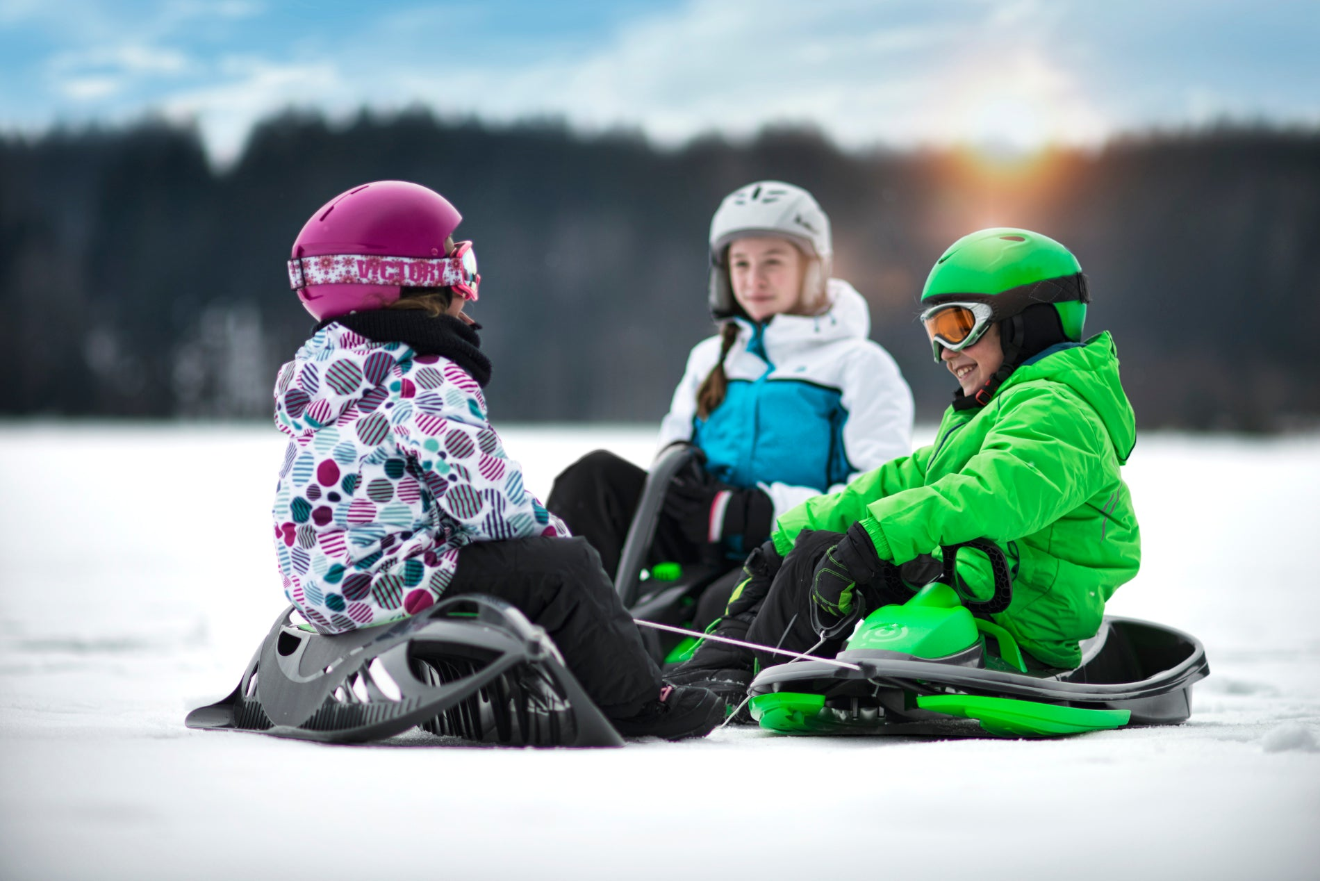 Gizmo Riders 2-Seater Ski Sled with Differential Steering System and Deep Digging Brake Stratos