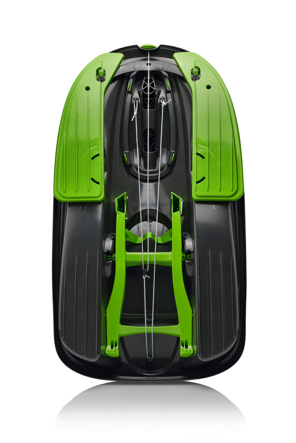 Snow Sled STRATOS with Brakes, Steering, Retractable Pull Cord  in COSMIC GFREEN by Gizmo Riders