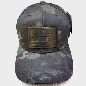 Midwest Black Camo Leather Patch Cap