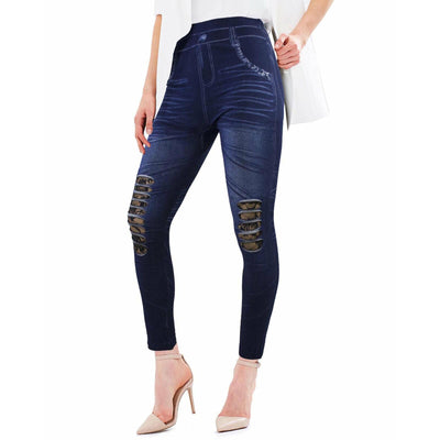 Leggings Denim con Strappi Donna - 8104