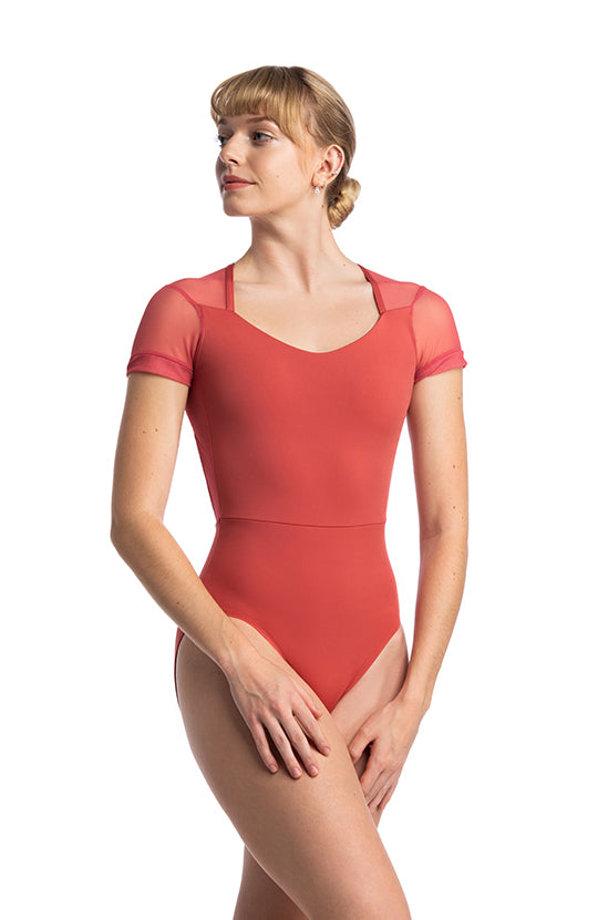 AinslieWear Lydia Leotard with Mesh - 1108ME Adult