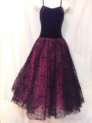 Body Wrappers Velvet Bodice with Lace Skirt - T6200 Adult