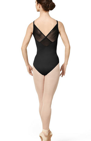 Mirella Princess Seam Gathered Wrap Back Mesh Leotard - M2173LM Adult