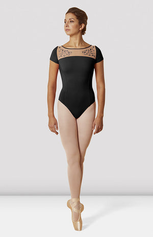 Mirella Open Back Embroidered Mesh Cap Sleeve Leotard - M5085LM Adult
