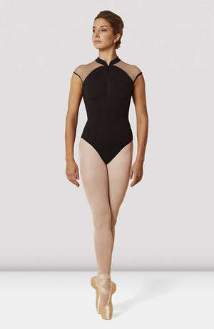 Mirella Zip Front High Neck Cap Sleeve Leotard - M5086LM Adult