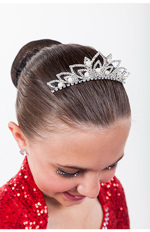 FH2 Crystal and Pearl Leaf Tiara - TR0512