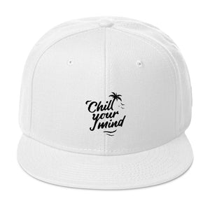 ChillYourMind - White Embroidered Snapback Hat
