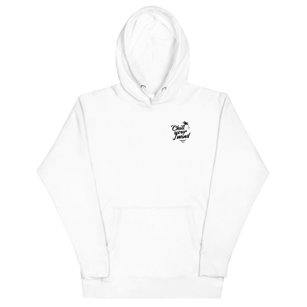 ChillYourMind - White Hoodie Front + Back Print