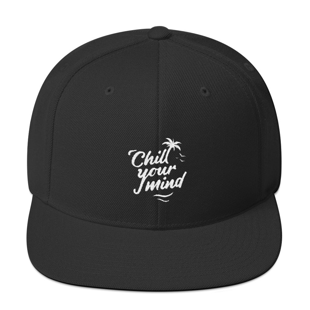 ChillYourMind - Black Embroidered Snapback Hat