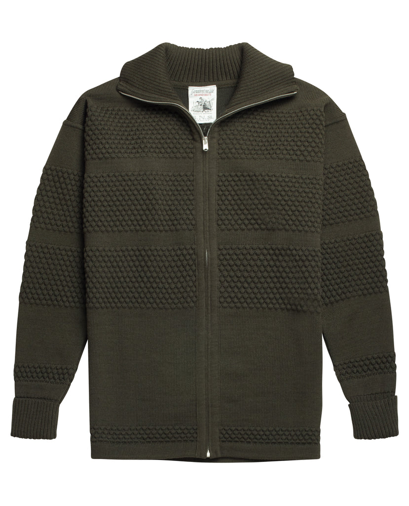 FISHERMAN full zip | lang lynlås<br>deep bronze green