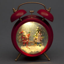 Battery Operated Alarm Clock w/Santa Scene 19cm