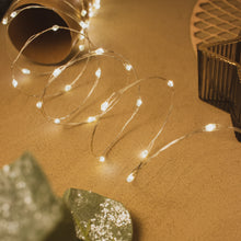 Battery Operated Micro LED String Lights - 60 Lights - Silver/Warm White