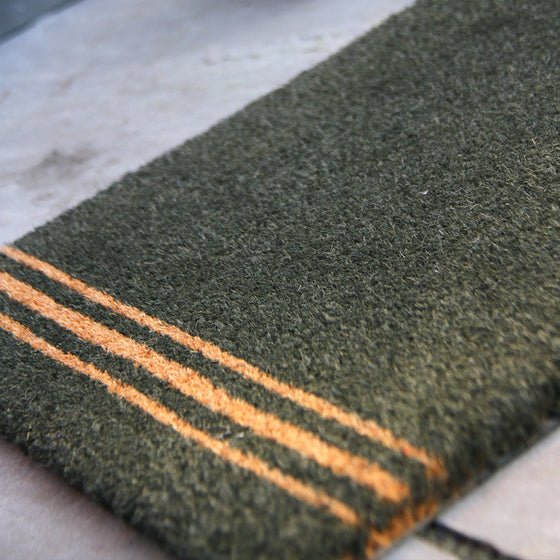Triple Stripe Coir Doormat - Small - Forest Green