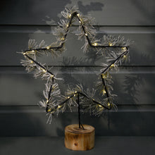 30 Lights Micro Star Branch On A Wooden Base - Warm White - Indoor/Battery Operated