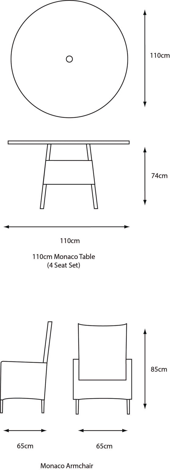 Leisuregrow Monaco 4 Seat Dining Set