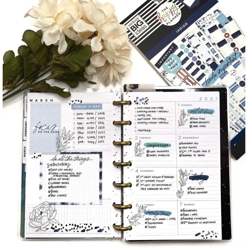 Set Stickers Happy Planner - Indigo
