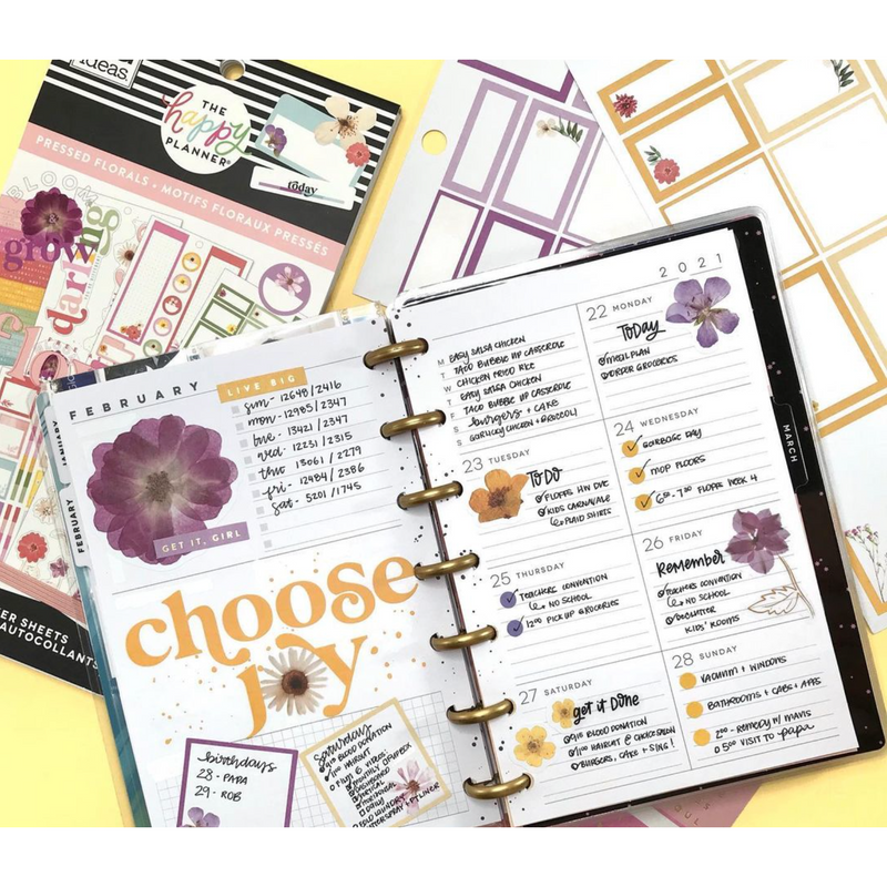 Set Stickers Happy Planner - Pressed Florals