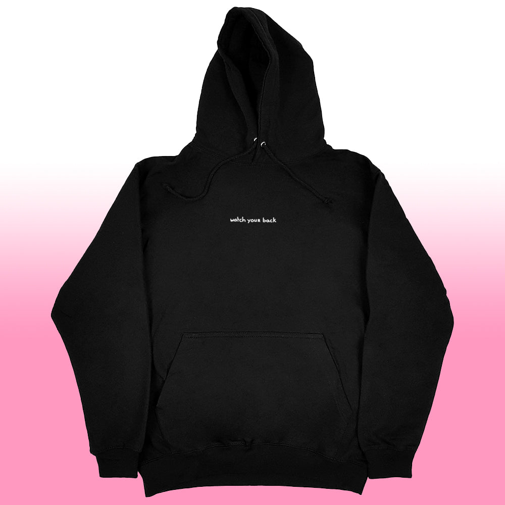 watch ur back hoodie black