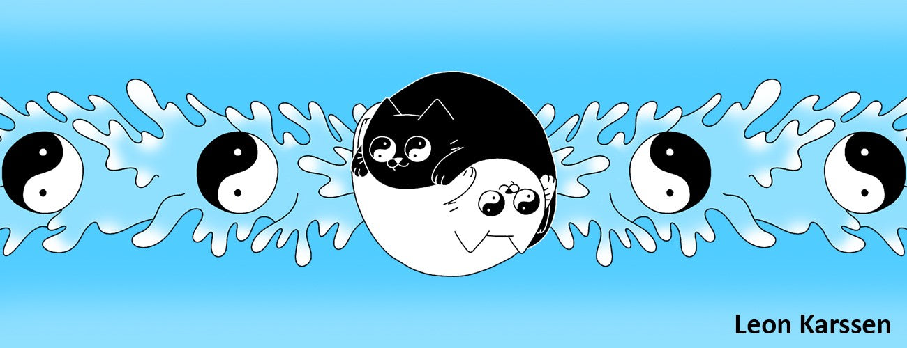 Banner with ying and yang