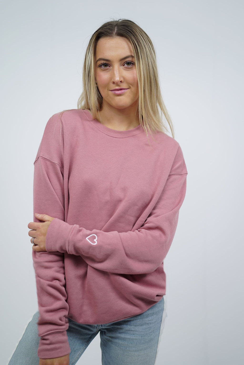 Signature Heart On Your Sleeve Crewneck - Mauve
