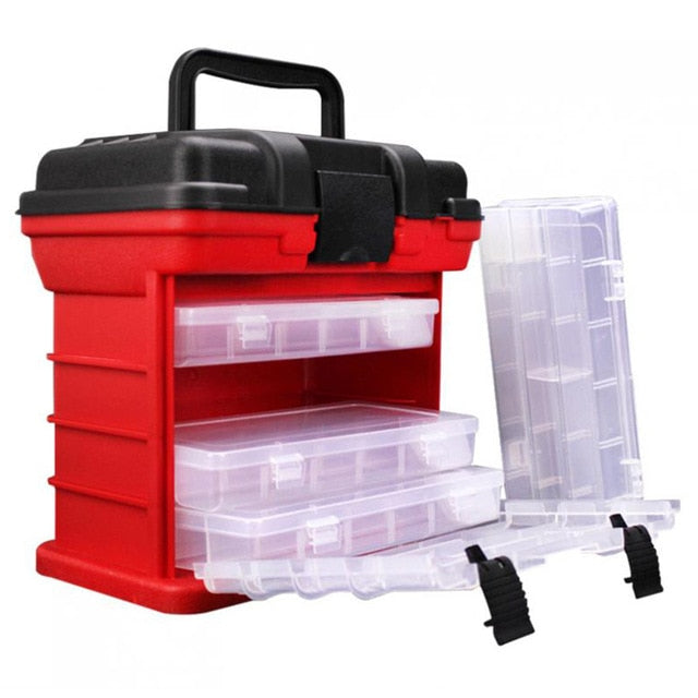 26x15x25cm 4 Layer Portable Carp Fishing Tackle Boxes Fishing Reel Line Lure Tool Storage Box fishing accessories - fishingtools-co
