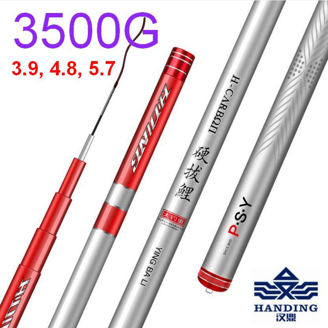 DOAO Han Ding PSY3500 Fishing Rod Telescopic Superhard Superlight High Carbon Fiber for Large Large Fishes Total 2 Tips - fishingtools-co