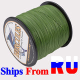 Ship From Russia Hercules 8 Strands Braided Fishing Line Carp Fish Wire 100 300M 10 20 30LB Ultralight Tough PE Lines Army Green - fishingtools-co