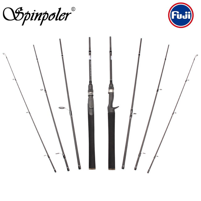 Spinpoler 2019 4-pieces 6'6'' Travel Carbon Casting/Spinning Salt/Fresh Water Portable Fuji Fishing Rod With Tube Case - fishingtools-co