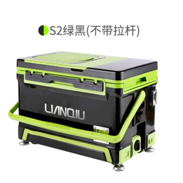 Portable fishing box insulated cooler with handle and wheels Multi-function fishing chair Foldable backrest Large capacity 40L - fishingtools-co