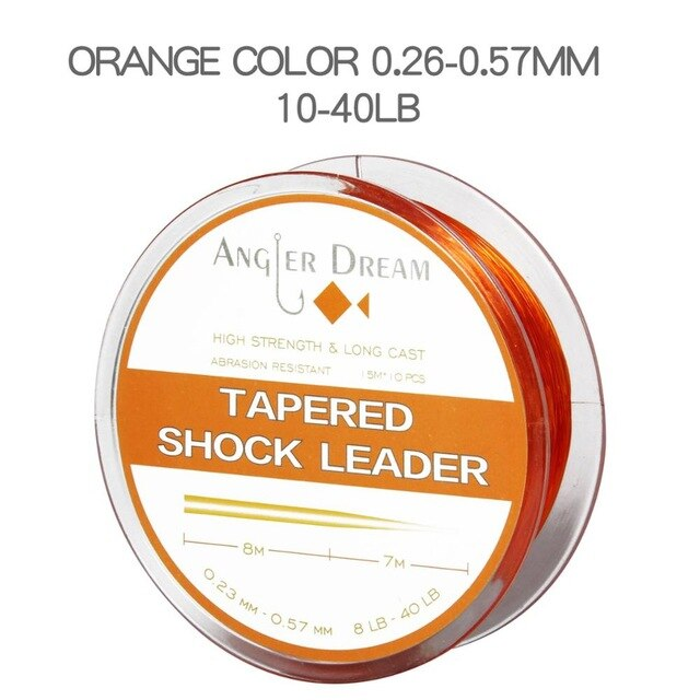 Angler Dream Surf Casting Tapered Shock Leader - 10 Leaders per Spool SALTWATER Surfcasting FISHING Line Tapered SHOCK LEADER - fishingtools-co