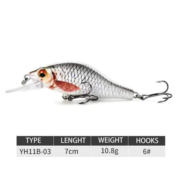 New Fishing Lure Lifelike Crankbait 5cm 7cm Minnow Lures Artificial Hard Baits Swimbait Sinking Wobblers For Pike Bass Trout - fishingtools-co