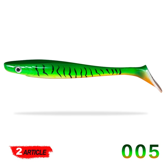 Hunthouse pro pig shad pike lure paint printing 20cm 50g 2pcs/lot Paddle tail shad silicone Lure souple leurre Natural Musky - fishingtools-co