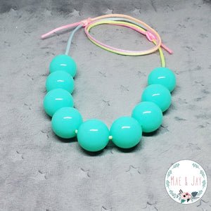 Chunky Neon Teal Necklace