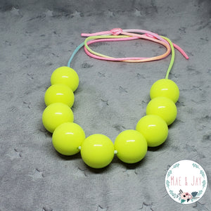 Chunky Neon Yellow Necklace