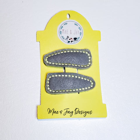 Grey/Yellow Dots Snap Clip Set