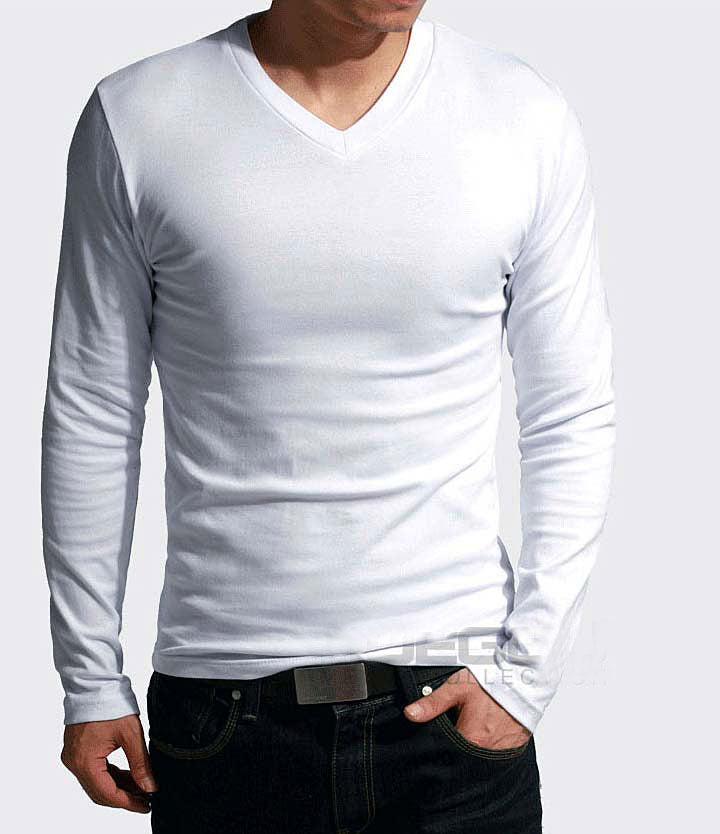 Elastic O/V-Neck T-Shirt