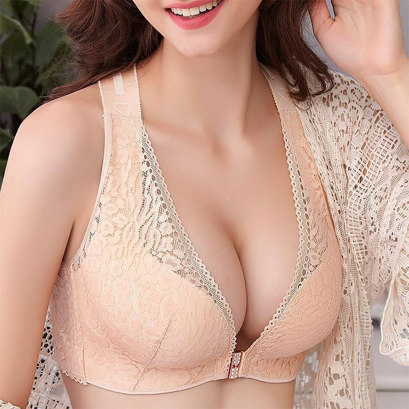 Wireless Front Closure Criss Cross Straps Lace Bras