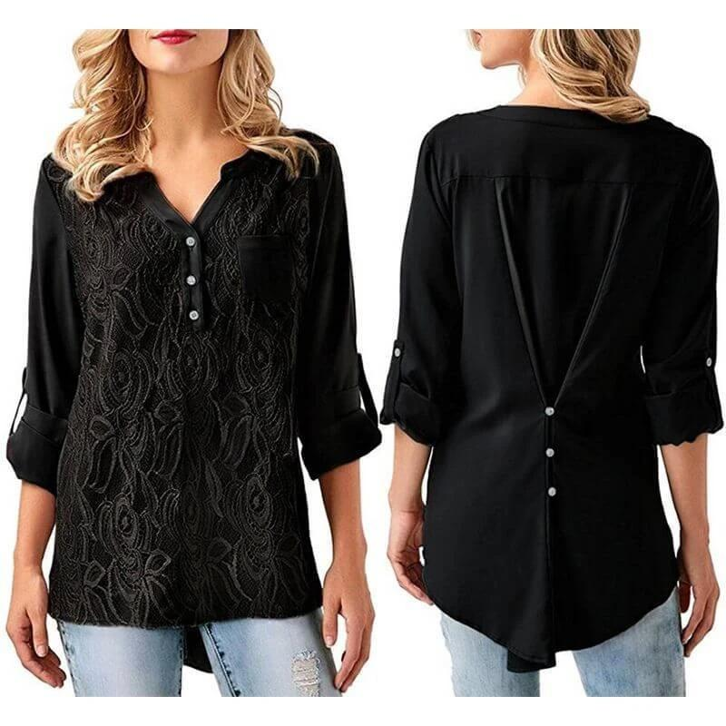 V-neck Chiffon Blouse for Women