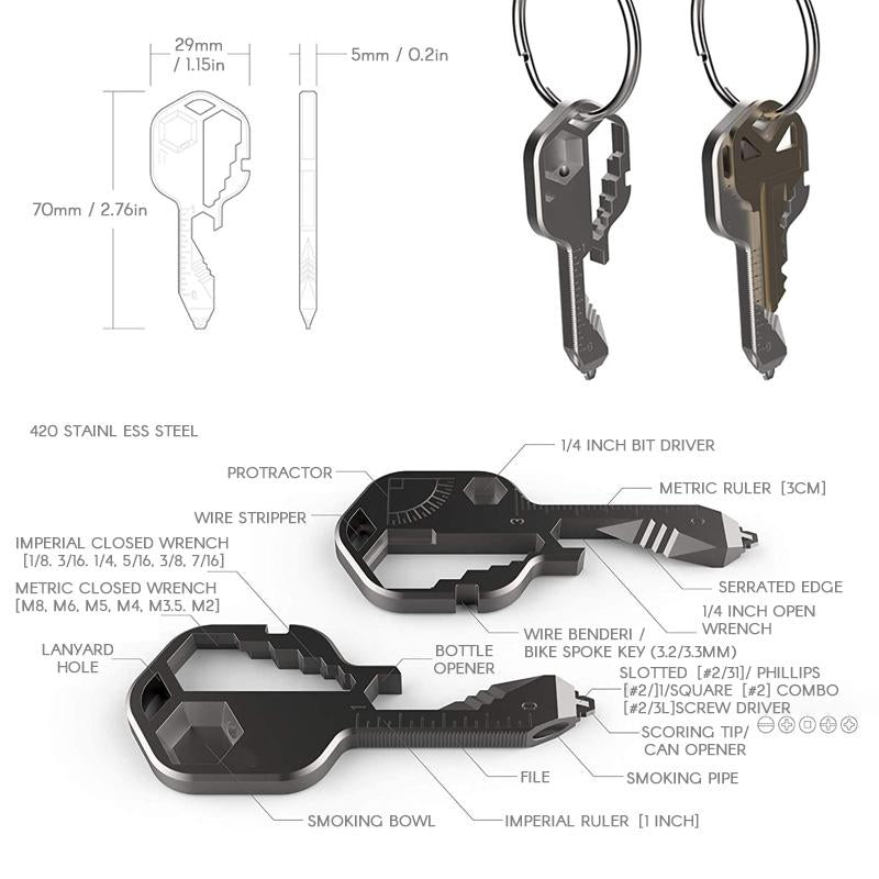 24 in 1 Key shaped pocket tool